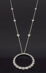 14K White Gold 1.24CTW Diamond Necklace