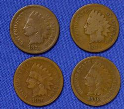 1874 1875 1876 and 1878 Indian Cents