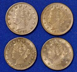 4 Nicer 1883 No Cent Rackateer Type V Nickels