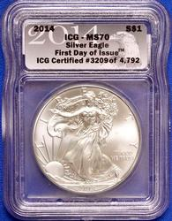 2014 First  Day Release  ICG MS 70 Silver Eagle