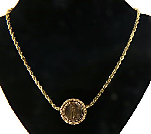 Refined 14kt Gold Coin Necklace