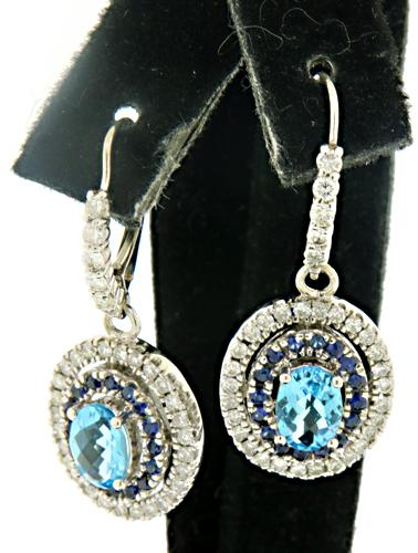 Vibrant 14kt Topaz & Diamond Dangle Earrings