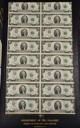 Uncut 1976  $2 Star Note Sheet of 16 in original holder
