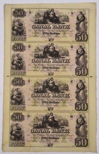 $50 Canal Bank  Obsolete Uncut Sheet  Ca 1830-50