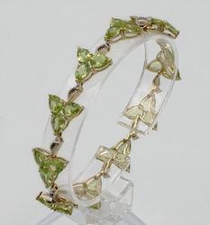 Sterling Silver Peridot & White Topaz Bracelet