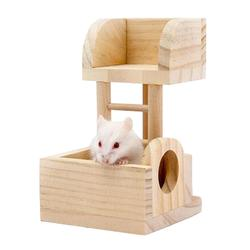 Cute Hamster Hideout Hut, Cute Wooden Bedding for Small AnimalsU