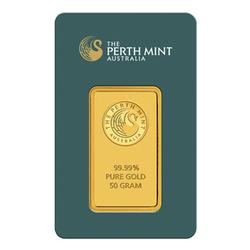 Perth Mint 50 Gram Gold Bar