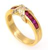 Ruby & Diamond Band in Gold, Size 6.5