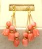 Pair of Matching Pink Coral Earrings & Necklace in Gold