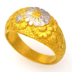 Solid 24K Gold Floral Ring, Size 7.25
