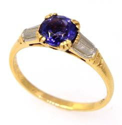 Amethyst Ring in Two-Tone Gold, Size 6.25