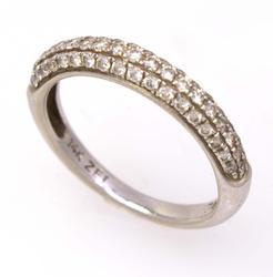 Petite Diamond Band in White Gold, Size 4.5