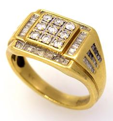 Men's 1CTW Diamond Ring in Gold, Size 10