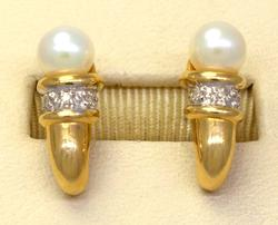 Pearl & Diamond Accent J-Post Gold Earrings