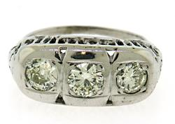 Vintage 14kt Triple Diamond Ring