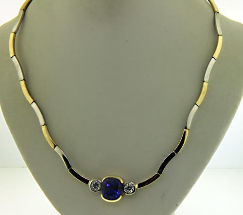 Eye Catching 14kt Tanzanite & Diamond Necklace