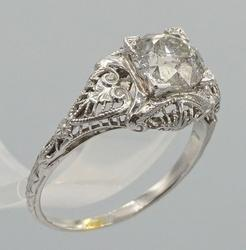 18kt White Gold Diamond Filigree Ring