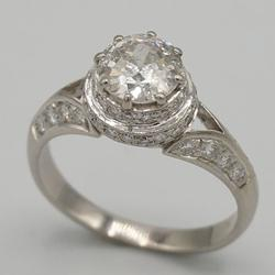 14kt White Gold Diamond Filigree Style Ring