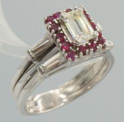 14kt Gold Diamond & Ruby Wedding Ring Set