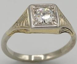 14kt Gold Antique Style Diamond Solitaire Ring