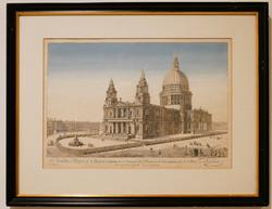 Vintage S Pauls Cathedral London Lithograph
