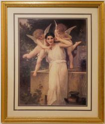 Beautiful Woman with Putti, Photo Chromolithograph