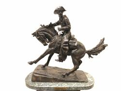 After Frederic Remington Cowboy Bronze On Marble