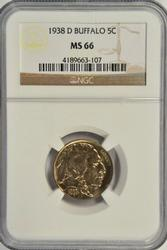 Super Gem BU 1938-D Buffalo Nickel. NGC MS66