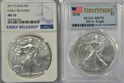 Flawless MS70 2017 & 2018 $1 Silver Eagles. NGC & PCGS
