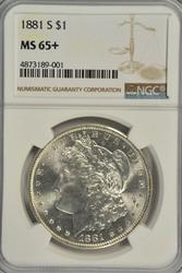 Superb GEM+ BU 1881-S Morgan Silver Dollar. NGC MS65+