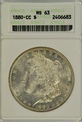Frosty-white Choice BU 1880-CC Morgan Dollar ANACS MS63