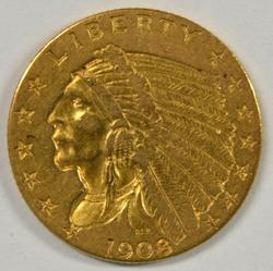 Very pretty 1908 US $2.50 Indian Gold Piece