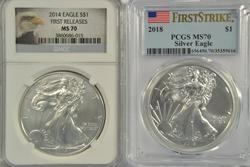 2014 (NGC MS70) & 2018 (PCGS MS70) $1 Silver Eagles