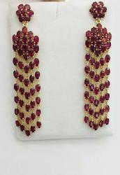 Stunning 30+ Carat Ruby Earrings in 14kt Gold