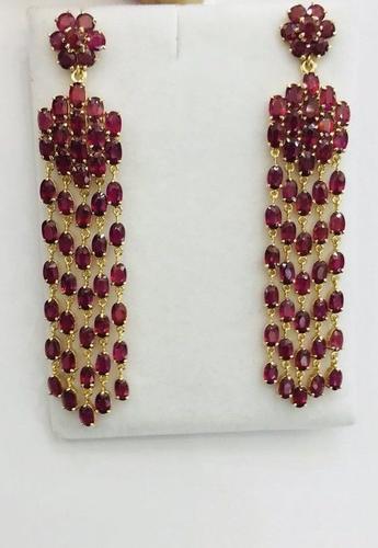 Stunning 30+ Carat Ruby Earrings in 14kt Gold