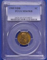1909 VDB in a PCGS MS 65 Red Brown holder