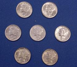 7 Near Unc & BU Lightly Toned Mercury Dimes