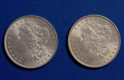 1885 And 1885 Frosty White BU Morgan Dollars