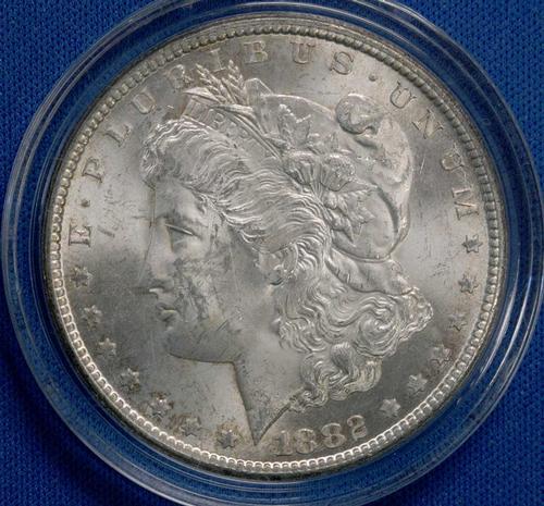 1882 CC BU Frosty White Morgan Dollar