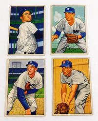 4 Bowman Gum 1952 Baseball Cards