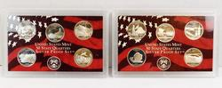 2 US Mint State Quarters Silver Proof Sets