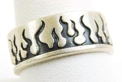 Mexican Sterling Silver Flame Ring, Size 10.5