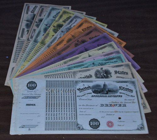 13 Diff. Internal Revenue Liquor Licenses 1873 to 1885