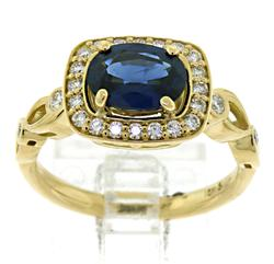 One of a Kind 18kt Sapphire & Diamond Halo Ring