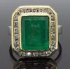 14K Gold Halo Style Emerald And Diamond Ring