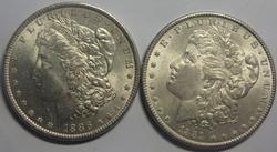 1886 And 1889 Frosty White BU Morgan Dollars