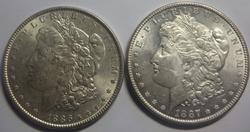 1886 And 1887 Frosty White BU Morgan Dollars