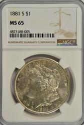 Sparkling-white Gem BU 1881-S Morgan Dollar. NGC MS65
