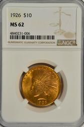 Choice BU 1926 $10 Indian Gold Piece. NGC MS62