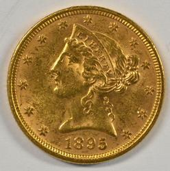 Lovely 1895 US $5 Liberty Gold Piece. Full strike